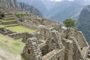 Inca huizen bij Machu Picchu